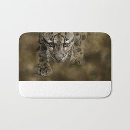 Clouded Leopard On The Hunt Bath Mat
