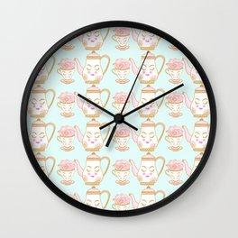 Tea Time Light Blue Wall Clock
