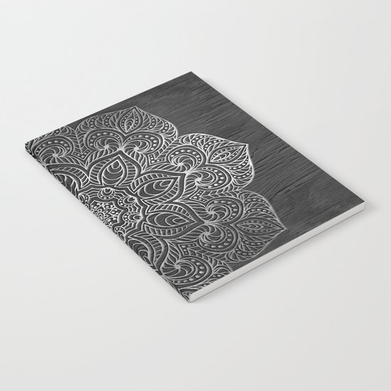 Wood Mandala - Silver Notebook