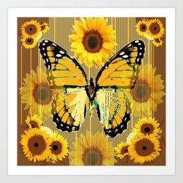 NUT & PUTTY COLORED YELLOW SUNFLOWERS ART Art Print