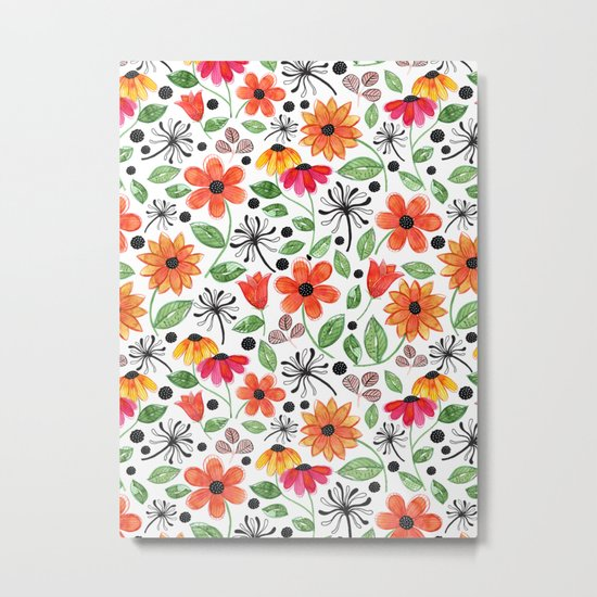 Dandelions & Flowers / White Metal Print