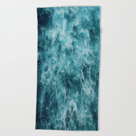 Blue Ocean Waves Beach Towel