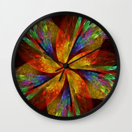 Painterly multicolor flower Wall Clock