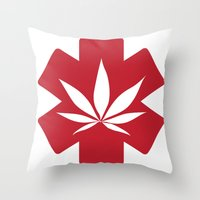 marijuana Throw Pillows featuring Medical Marijuana by WeedPornDaily