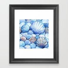 Sea Shells Aqua Framed Art Print