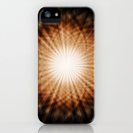 Amber and White Round Sunburst Abstract iPhone Case