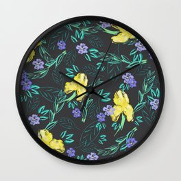 Yellow iris and periwinkle watercolour & ink pattern in black Wall Clock