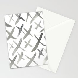 Watercolor X's - Grey Gray Stationery Cards