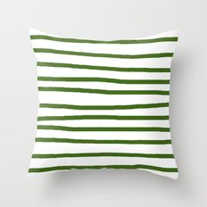 Simply Drawn Stripes in Jungle Green Throw Pillow