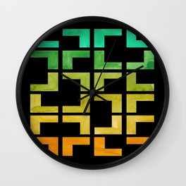Colorful Watercolor gouache On Black Background Teal Turquoise Yellow Gradient Mid Century Modern Wall Clock
