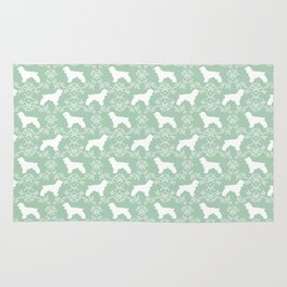 Cocker Spaniel mint and white minimal floral florals silhouette dog pattern Rug