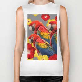 TROPICAL FLORAL MACAWS & RED YELLOW HIBISCUS FLOWERS Biker Tank