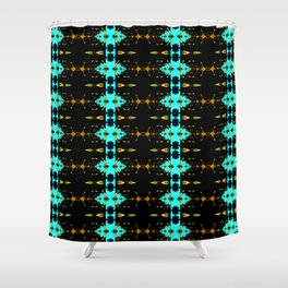 Gold and blue stripy fractal pattern Shower Curtain