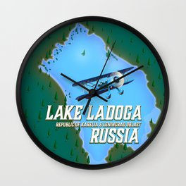 Lake Ladoga Russian map Wall Clock