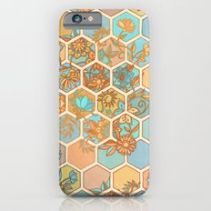 Golden Honeycomb Tangle - hexagon doodle in peach, blue, mint & cream iPhone 6 Slim Case