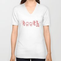 teeth V-neck T-shirts featuring Teeth by Seventy-three