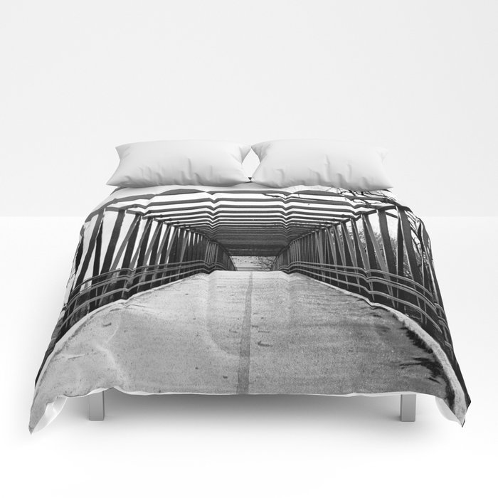 Bridge to Nowhere Black and White Photography Comforters