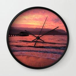 Pink Kauai Sunset Wall Clock