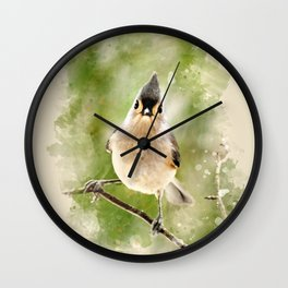 Watercolor Tufted Titmouse Art Wall Clock