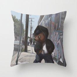Gangsta Teddy Throw Pillow