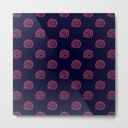 Navy Blue and Pink Flourish Swirls Metal Print