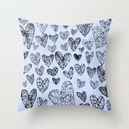 Wire Hearts in Soft Blue Throw Pillow