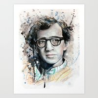 woody allen Art Prints featuring Woody Allen by Denise Esposito