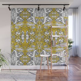 city banner, doodle monster ribbons mustard yellow Wall Mural