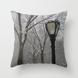 Snowy Morning In Central Park Throw Pillow