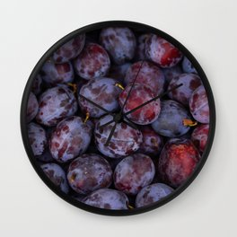 Purple plums fruit pattern Wall Clock