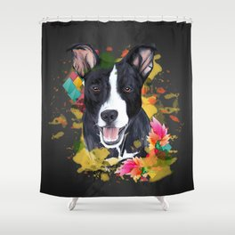 Black pup Shower Curtain