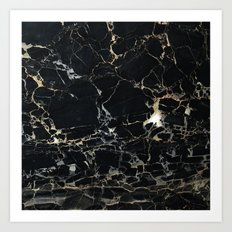 Marble Gold, Black and Silver Art Print