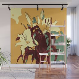 Spring is coming. Abstract vector image of beautiful lilies Wall Mural