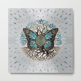 Flower of Life - Tree of life - Butterfly Metal Print