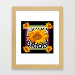 Deco Coffee & Cream Sunflowers Flowers  Black Art Framed Art Print