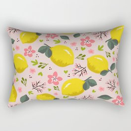 Lemon floral pattern Rectangular Pillow
