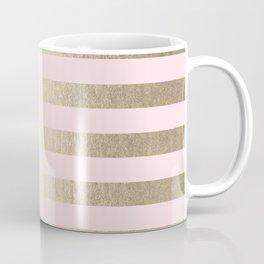 Stripes White Gold Sands on Pink Flamingo Coffee Mug