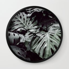 Tropical Leaves Cool Blue Wall Clock