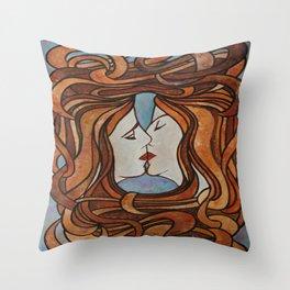 Lesbian Kiss (Art Nouveau Style) Throw Pillow