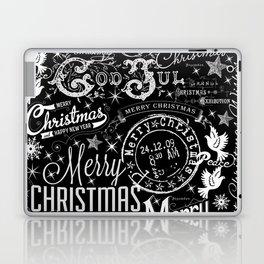 Black and White Christmas Typography Design Laptop & iPad Skin