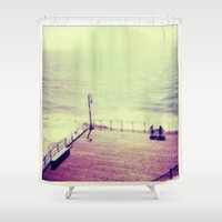 santa monica Shower Curtains featuring Santa Monica Boardwalk by Alissa Huff