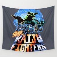 kaiju Wall Tapestries featuring Super Kaiju Fighters by tweedler92