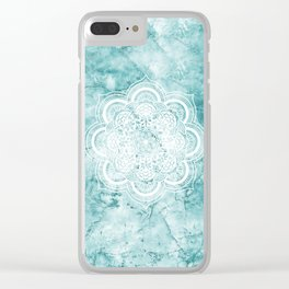 Mandala on teal marble. Clear iPhone Case
