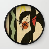 matisse Wall Clocks featuring Inspired to Matisse (vintage) by Chicca Besso