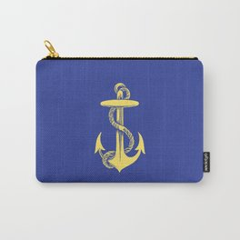 Modern royal blue sunshine yellow nautical anchor Carry-All Pouch