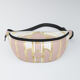 Art Deco Geometric Architectural Shapes and Stars in Blush Pink and Yellow Gold Fanny Pack