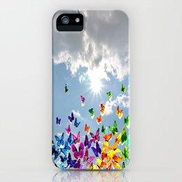 Butterflies in blue sky iPhone Case
