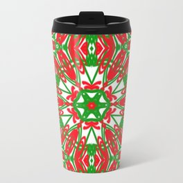 Red, Green and White Kaleidoscope 3376 Travel Mug