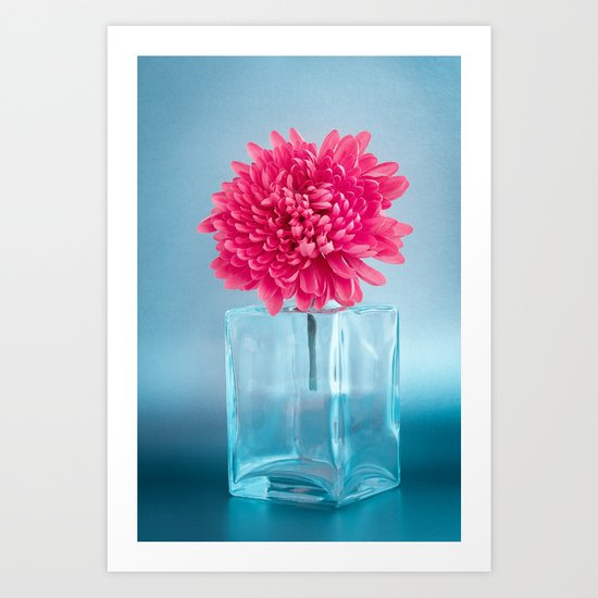 LE NOBLE - Pink flower in blue glass vase Art Print