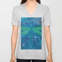 Om Dragonfly Unisex V-Neck